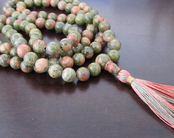 8mm unakite 108 beads buddhist mala