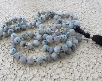 Sesame jasper mala - Hand knotted 8mm sesame jasper 108 beads buddhist mala