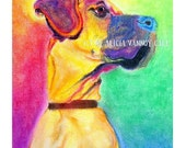 Great Dane, Pet Portrait, DawgArt, Dog Art, Pet Portrait Artist, Colorful Pet Portrait, Great Dane Art, Pet Portrait Painting, Art Prints