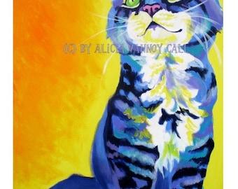 Cat Art, Colorful Cat, Pet Portrait, Kitten, Kitten Art, DawgArt, Pet Portrait Artist, Tabby Cat Art, Pet Portrait Painting, Art Prints