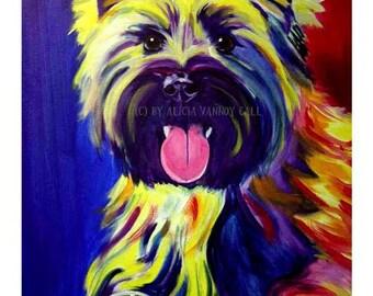 Cairn Terrier, Pet Portrait, DawgArt, Dog Art, Cairn Art, Pet Portrait Artist, Colorful Pet Portrait, Pet Portrait Painting, Art Prints, Dog