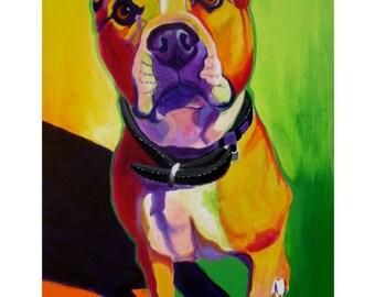 Pit Bull, Pet Portrait, DawgArt, Dog Art, Pet Portrait Artist, Colorful Pet Portrait, Pit Bull Art, Art, Art Prints, Pit Bull painting