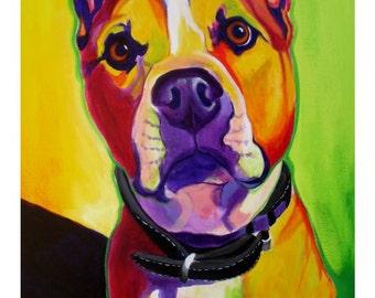 Pit Bull, Pet Portrait, DawgArt, Dog Art, Pet Portrait Artist, Colorful Pet Portrait, Pit Bull Art, Pet Portrait Painting, Art Prints