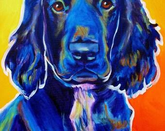 Field Retriever, Pet Portrait, DawgArt, Dog Art, Pet Portrait Artist, Colorful Pet Portrait, Field Retriever Art, Pet Portrait Painting