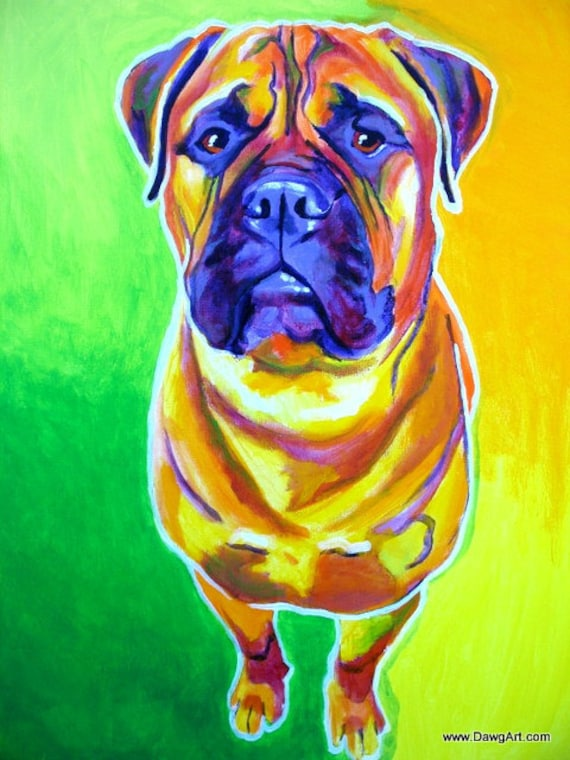 Bullmastiff, Pet Portrait, DawgArt, Dog Art, Pet Portrait Artist, Colorful Pet Portrait, Bullmastiff Art, Art, Art Prints