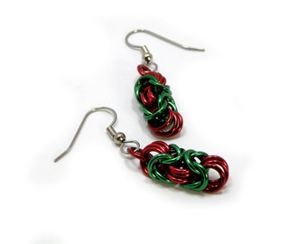 Green And Red Christmas Earrings Handmade Chainmaille Design