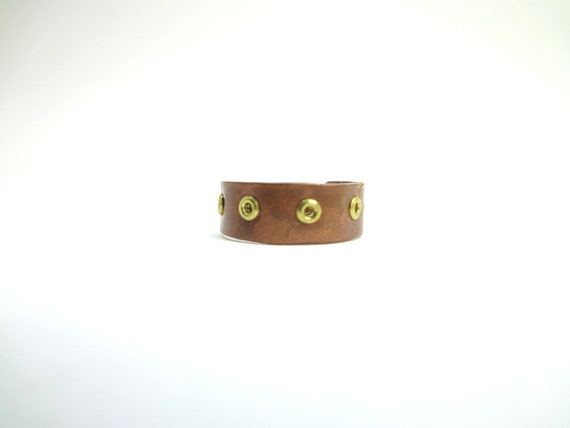 Steampunk Adjustable Ring Copper With Brass Eyelets