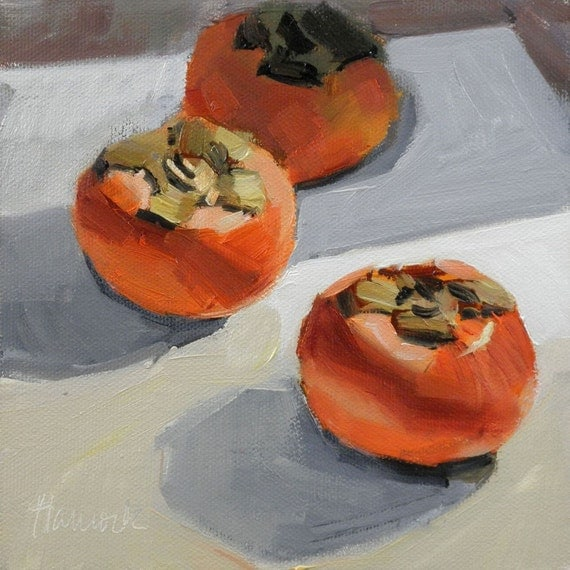 Three Persimmons on White
