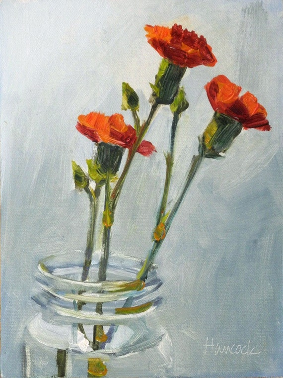 Three Carnations in a Glass Jar