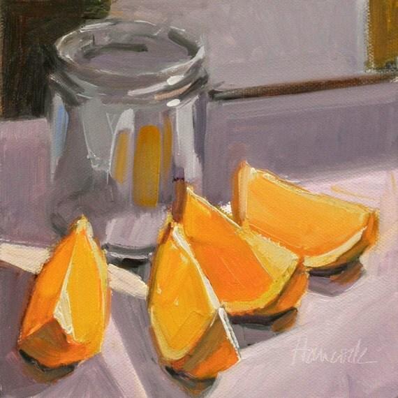 Orange Slices Glass Jar on Lavender
