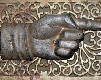 Pointing Hand - Vintage Style Cast Iron Wall Hanging or Sign Piece