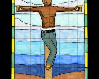 2pac stained glass print