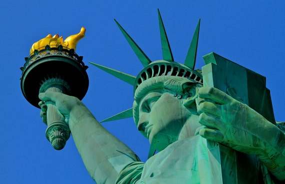 Statue of Liberty Photograph, New York City, Freedom, New York Photograph, USA, American, Art Print, Green, Blue, Face, Torch
