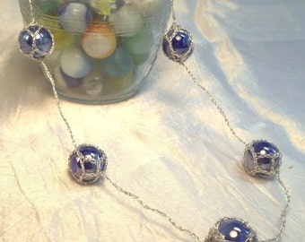 Blue and Silver Five-Marble Necklace