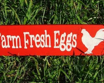 Farm Fresh Eggs Wooden Sign (Cherry Red)