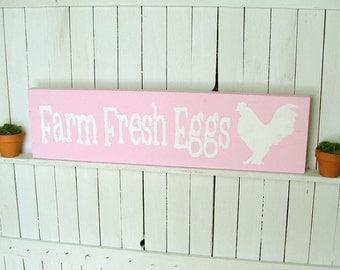 Chicken Coop Sign: Pink Farm Fresh Eggs
