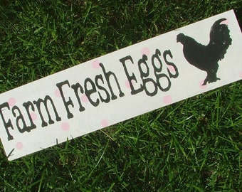 Chicken Coop Sign:  Farm Fresh Eggs (White with Pink Polka Dots)