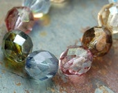 8mm Czech Fire Polished Glass Faceted Round Beads in Multi-Color luster- 25 Pieces