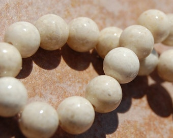 Fossil Beads, 12mm Fossil Stone in Natural -16 inch strand