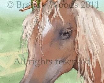 Funny Fantasy HORSE & PIXIE Fairy ACEO art print Brandy Woods