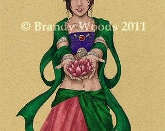 Kwan-Yin Chinese Goddess ACEO myth mythology deity buddha art print - Brandy Woods
