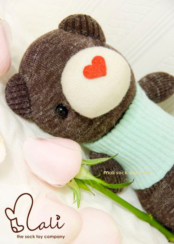 "Mali Sock Doll, Sock Bear, Love Heart Green Tee Brown Teddy Bear, Newborn Safe, ""Honey Bee"""