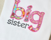 Instant Download . Big Sister Lower Case Applique Embroidery Design - 2 Sizes