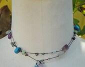 Beautiful Hand Tied Lariate Necklace of Semi Precious Beads