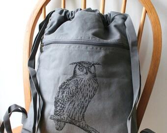 Owl Backpack Screen Printed Canvas