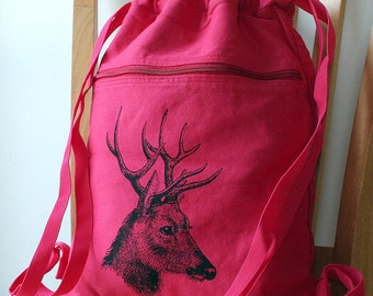 Deer Backpack Canvas Screen Printed Laptop Bag School Bag