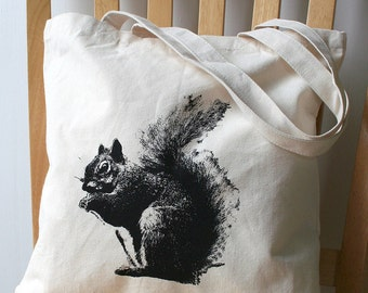 Squirrel Canvas Tote Bag Book Bag