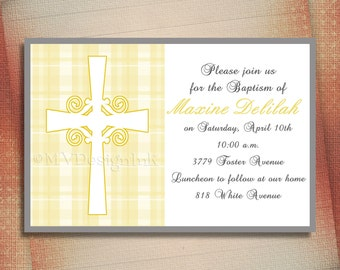Baptism Invitation, Christening or First Communion Announcement, Plaid Pattern Baptism or Christening Invitation-Digital File You Print