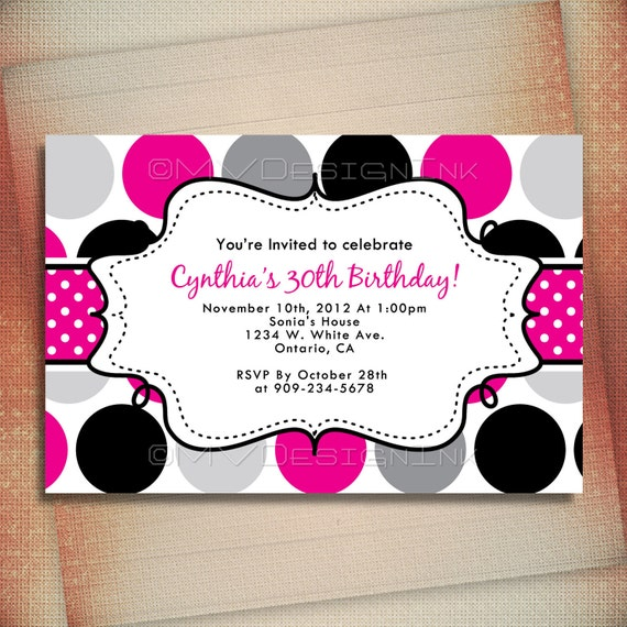 Hot Pink Polka Dot Birthday Invitation, Polka Dot Personalized Birthday Invite, Hot Pink Birthday Personalized Invite-DIY