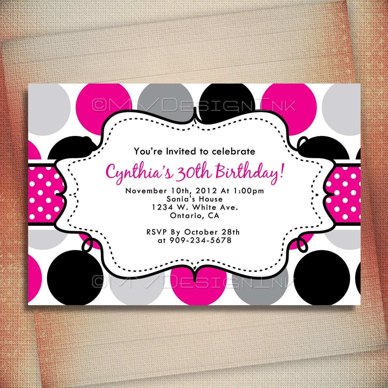 Hot Pink Polka Dot Birthday Invitation Polka Dot Personalized