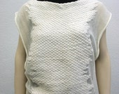 Cream Knitweave Top made of  Bamboo and Silk - one of a kind