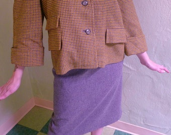 Fabulous 1950s New Look Wool Swing Coat in Soft Gray and Yellow Houndstooth--S,M
