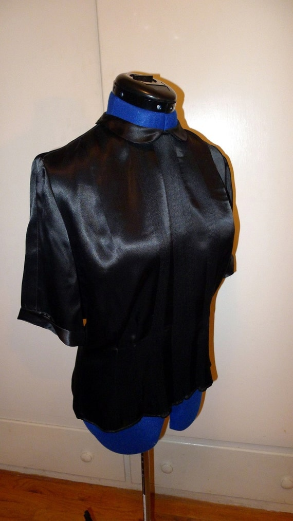 ART DECO--Gorgeous 1930s 1940s Heavy Liquid Satin Blouse by The Opera--M,L