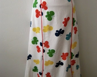 Print Skirt Butterflies on White Paneled Pique Size Extra Large XL Plus Size