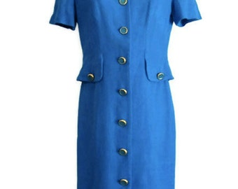 Short Sleeve Blue Wiggle Dress Button Front with Peplum Back Size 6