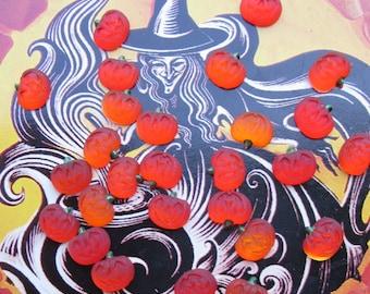 Tiny Jack O Lantern Pumpkin  Cabochons