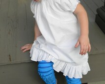 Girls Peasant Dress White Cotton Ruffle Peasant Shirred Boutique Style Dress Sizes 1 to 8 Other Colors Available