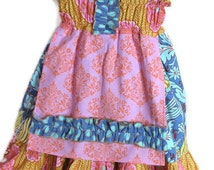 Girls Peasant Boutique Style Dress Shirred Sundress with Apron Patchwork  Ruffles in Blue, Pink, Yellow Size 3T Ready to Ship