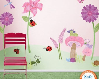 Bugs and Blossoms - Flower Garden Wall Decals for Girls Room & Nursery - JUMBO SET
