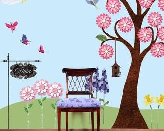 Flower Garden Wall Decals for Nursery & Girls Room Wall Mural - Large Tree, Flowers, Butterflies - JUMBO SET