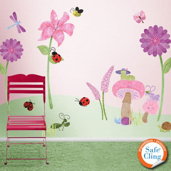 Flower and Ladybug Wall Decals for Girls Room Wall Mural