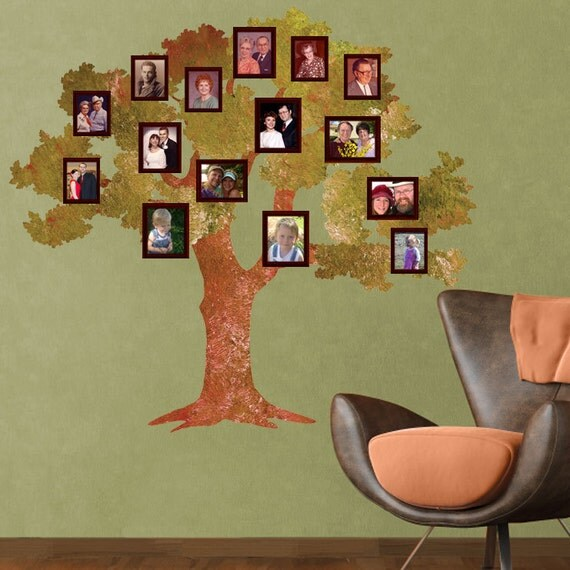 oak family tree wall sticker decal for walls by mywallstickers. Black Bedroom Furniture Sets. Home Design Ideas