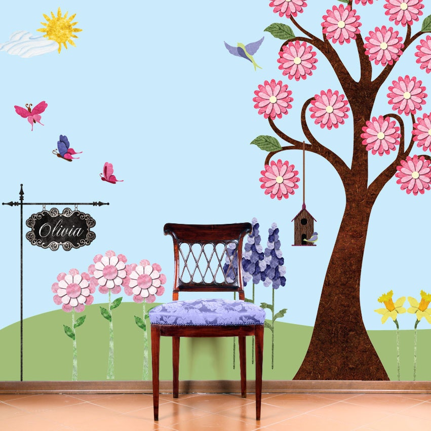 Wall Designs For Girls Room : Flower Garden Wall Sticker Decals for Girls Room by MyWallStickers