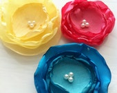 Colorful Handmade Flower Clips - Yellow - Pink - Blue