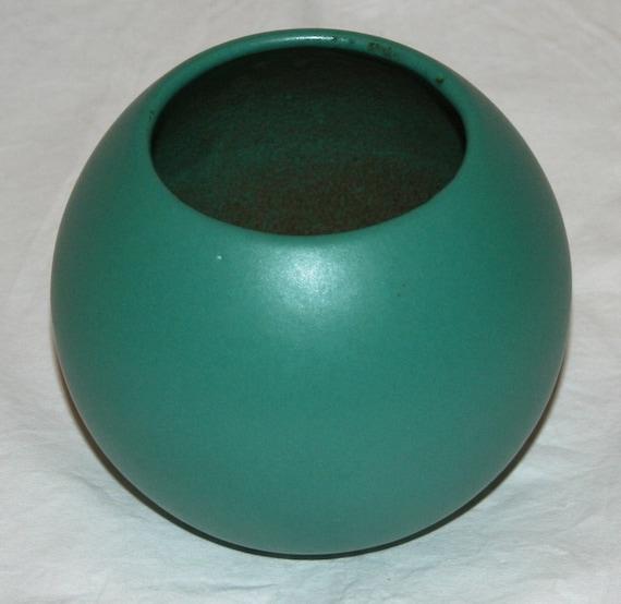 Vintage Mid Century Modern Round Green Studio Pottery Schewrich Germany Signed