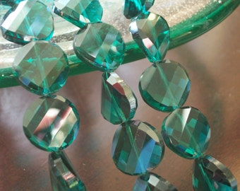 EmeraldGreen Crystal Faceted Twist Coin Beads (14mm)-12 pieces